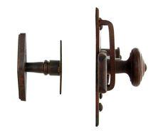 Verrou et poignée pour porte en fer forgé rouillé Brionne