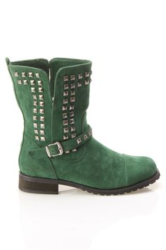 Shoe Republic Abigail Studded Ankle Boot In Hunter Green. yes please!!!!