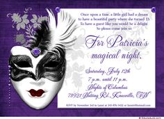dramatic mask 15th birthday invitation magical design masquerade wedding invitationsbirthday invitationsmasquerade themebachelorette