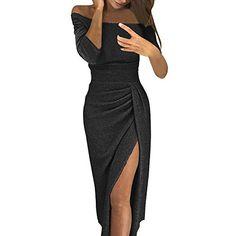 c467ae31e0a Damen Kleider Festlich Wickelkleider Jerseykleid Partykleid Frauen  Schulterfreies Kleid als Abendkleid Partykleid Silvester Neujahr  Brautjungfer Hochzeit