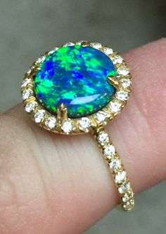 2.20ct Fine Black Opal and Diamond Ring in 18kt yellow gold #opalsaustralia