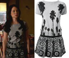 Elementary Season 2, episode 20: Joan Watson's (Lucy Liu) Christian Pellizzari Tree Print Dress #elementary #joanwatson #lucyliu