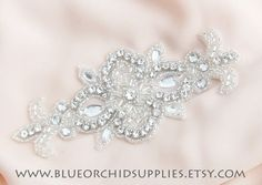 Crystal Beaded Applique Rhinestone Applique by BlueOrchidSupplies, $9.25