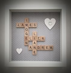 THE 1ST OF AUGUST Wooden Tiles lsquo Scrabble Style rsquo Frame Frame measures 25cm x 25cm and is available in black or white Any colour background
