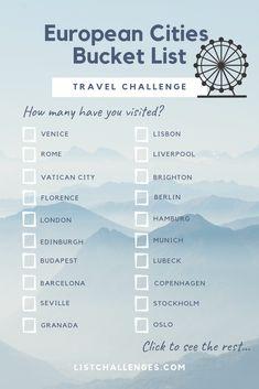 Travel list challenge, europe bucket list europe bucket list, b Travel Checklist, Travel List, Travel Packing, Budget Travel, Travel Europe, European Travel, Travel Chic, Europe Packing, Dog Travel