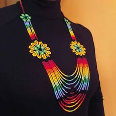 Native Embera Indian Beaded Necklace from Latin America Beaded Necklace made by Embera Indians This item was handmade by . Diy Jewelry, Beaded Jewelry, Crochet Necklace, Beaded Necklace, African Necklace, Beading Projects, Beading Ideas, Native Indian, Beads And Wire