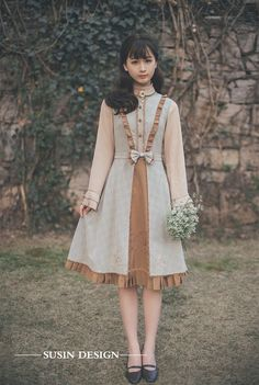 Susin -The End of the Queue- Embroidery Vintage Classic Lolita Jumper Dress Jumper Dresses: 15 Outfit Ideas and Options to Shop Now Kawaii Fashion, Cute Fashion, Vintage Fashion, Mori Girl Fashion, Lolita Fashion, Womens Fashion, Cute Dresses, Beautiful Dresses, Girls Dresses
