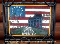 Hand Painted Decorative God Bless America/Saltbox by Pipberrytree Roofing Supplies, Slate Signs, Saltbox Houses, God Bless America, Diy And Crafts, Blessed, Hand Painted, Crafty, Make It Yourself