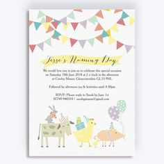 Your friends and family will love this beautiful farmyard animal themed naming day invite with colourful party bunting and calligraphy. Naming Ceremony Invitation, Party Bunting, Christening Invitations, Name Day, Colorful Party, Farm Yard, Rsvp, Special Occasion, Baby Bedroom