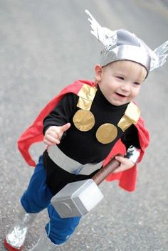 Little Thor costume. Made of hand me down clothes and duct tape ;)