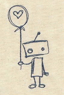 """Embroidery Designs at Urban Threads - Lonely Robot (#UT1003) 1.89""""w x 3.85""""h 10 December 2010"""