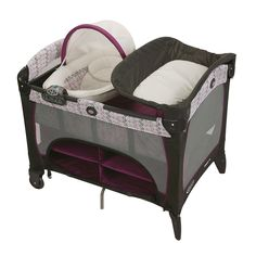 Graco Pack 'n Play with Newborn Napper DLX grows with your child as you place your newborn in the cozy napper station, then as your infant rests in the comfortable full-size bassinet, to your playful toddler safe in the full-size playard.