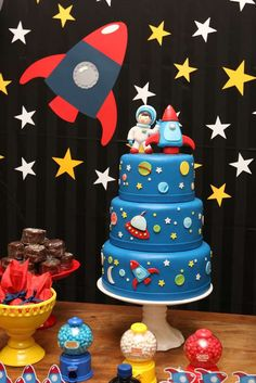 "Space Astronaut Birthday / Birthday ""Noah's First Birthday Party - Outer Space Party"" Rocket Birthday Parties, Birthday Boy Party, Birthday Backdrop, Birthday Ideas, Space Baby Shower, Rocket Cake, Astronaut Party, Outer Space Party, First Birthday Cakes"