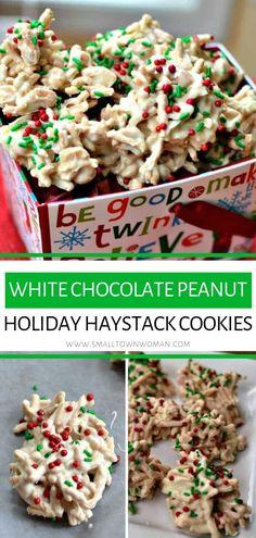White Chocolate Peanut Holiday Haystack Cookies