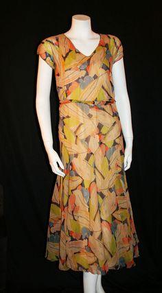 BEAUTIFUL ART DECO PARTY DRESS, BIAS CUT PRINT CHIFFON ~ CUSTOM MADE NYC c1920 #CustomMade
