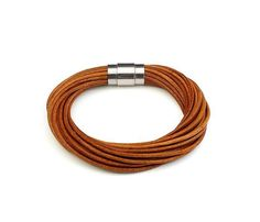 Mens Multi Strand Leather Bangle Bracelet Magnetic Clasp