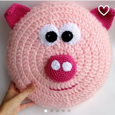 Piggy Pillow Pal! At SIMPLEHOOKS.com #handmade #handcrafted #yarn #yarnaddict…