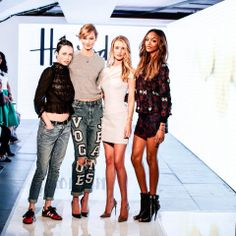Here is a #HarrodsLive exclusive: Edie Campbell, Karlie Kloss, Rosie Huntington-Whiteley and Jourdan Dunn graced our catwalk at the 2014 Vogue Festival.