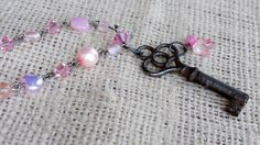 Pink and Antique Key Necklace by AmarisJewelry on Etsy, $25.00