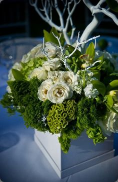 White roses and branches coupled with the verdant green celosia and trachellium and green trick carnations take this luxorius floral arrangement over the top - lush couture floral design and greg blomberg photo