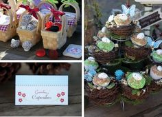 """Enchanted Forest/Red Riding Hood"" theme ~ cute favor ""baskets and ""grandma's cupcakes."""