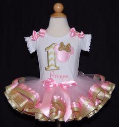 1st Birthday Tutu Pink and Metallic Gold by LittleKeikiBouTiki