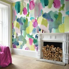 Bluebellgray Big Rothesay wallpaper with giant watercolour shapes