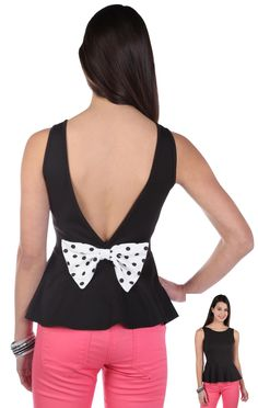Deb Shops envelope back peplum tank top with #polka #dot bow back