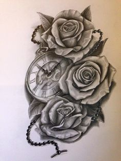 Clock with roses
