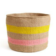 Yellow and Pink Striped Basket - Kenya