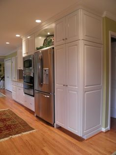 """You get the look of a built-in refrigerator for less: """"So you want a flush refrigerator … – Kitchen Pantry Cabinets Designs Galley Kitchen Design, Floor To Ceiling Cabinets, Kitchen Wall Cabinets, Built In Refrigerator, Kitchen Wall Design, Pantry Cabinet, Kitchen Pantry Cabinets, Kitchen Cabinets, Trendy Kitchen"""