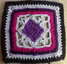 """Ravelry: Counterpoint 12"""" Afghan Block pattern by Joyce D. Lewis"""