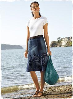 applique denim skirt