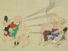 Competencia de flatulencias documentadas en el arte de Japón del siglo XVII
