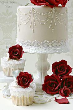 New Wedding Cakes Simple Cupcakes Grooms Ideas Beautiful Wedding Cakes, Gorgeous Cakes, Pretty Cakes, Cute Cakes, Amazing Cakes, Cake Wedding, Red Wedding, Wedding Rings, Wedding Engagement