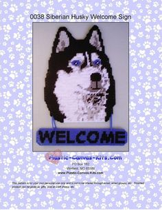 Siberian Husky Welcome Sign-Plastic Canvas by PlasticCanvasMania