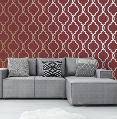 Holden Decor Laticia Trellis Red/Gold Metallic Glitter Wallpaper - A great way to add a touch of glamour to your walls. This wallpaper features a fabulous trellis print which is brought to life in a stunning red and metallic gold colour scheme. Brick Effect Wallpaper, Hallway Wallpaper, Wallpaper Uk, Metallic Wallpaper, Luxury Wallpaper, Contemporary Wallpaper, Gold Color Scheme, Color Schemes, Gold Colour