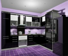Purple Kitchen Designs, Goth Home Decor, Kitchen Wall Colors, All Things Purple, My House, Design Inspiration, Goth Chic, Bedroom, Interior