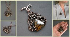 ECPRESSO transformer - a brooch and pendant, copper, tiger's eye.  by KL-WireDream on DeviantArt