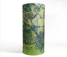Linen Hydrangea Drum Lamp Shade in Midnight by BelfastBayShadeCo