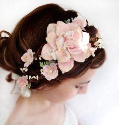 pale pink flower head wreath, bridal head piece, wedding hair accessory - LAMBS EAR - mint green and ivory. $140.00, via Etsy.