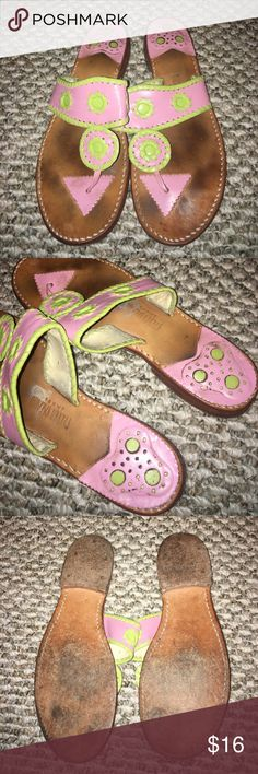 Steven Salario Sandal Used condition lots of life left! Pink and green with tan leather size 7! Same style as jack Rogers steven salario Shoes Sandals