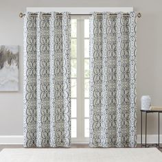 Madison Park Maren Printed Window Curtain Panel with Blackout Lining (50x84-Blue), Blue, Size 50 x 84 (Polyester, Geometric)