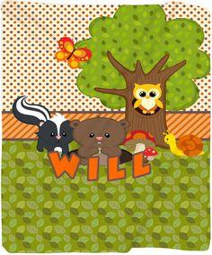 Personalized Forest Friends Plush Fleece Blanket  by redbeauty