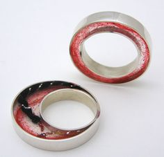 Red Wool Resin and Sterling Silver Ring; intriguing, and it could be so pretty with a darker background!