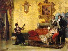 """Este cuadro ha sido catalogado como Escuela Romana siglo XIX. En realidad se trata de una copia del conocido cuadro """"El concierto"""" (1881) de Vicente Palmaroli (1834-1896) que se encuentra en el Museo del Prado y que muestra una gran influencia de Mariano Fortuny.  Sobre pintura española del XIX en subasta"""