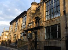 View of Renfrew Street façade of Glasgow School of Art which was devasted by fire on 23rd May 2014