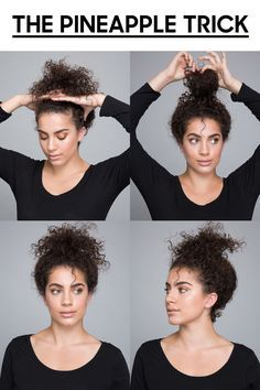 """Use the """"pineapple trick"""" to get defined curls overnight. Pineappling is a technique in which the hair is loosely gathered at the highest point of the head, usually before sleep. This protects the curl pattern while helping your hair maintain natural volume. Simply take it out when you're ready to wear it down. Click through for more genius curly hair ideas."""