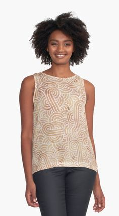 """""""Iced coffee and white zentangles"""" Contrast Tank by @savousepate on @redbubble #contrasttank #tanktop #clothing #apparel #pattern #drawing #abstract #modern #graphic #geometric #boho #doodles #zentangle #neutralcolors #icedcoffee #brown #ocher #beige"""