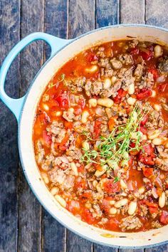 This easy, healthy Italian Sausage Stew recipe has just six ingredients and LOADS of flavor. Add spinach and take out the beans for low carb and keto. Can be made in the slow cooker, too! Canned Tomato Recipes, Chili Recipes, Soup Recipes, Keto Recipes, Crockpot Recipes, Dinner Recipes, Easy Recipes, Noodle Recipes, Keto Desserts